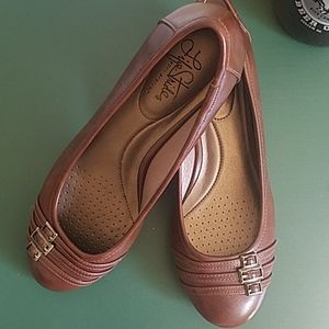 Brown heeled slip on